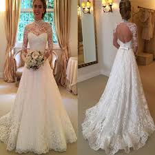 Modest Wedding Dress 2017 High Neck Open Back Lace Princess Simple Modest Wedding Dress