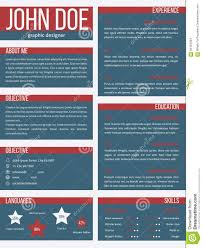 Acting Cv Example New Resume Cv Template With Separate Categories Stock Illustration