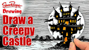 Easy To Draw Halloween by How To Draw A Creepy Castle Youtube