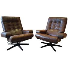 Swedish Leather Recliner Chairs Vintage Swedish Armchairs Pair Leather Gote Mobler Nassjo Mobel