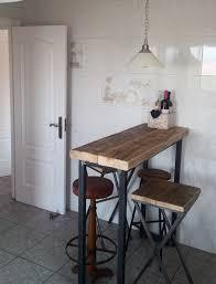 Oak Breakfast Bar Table Industrial Mill Style Reclaimed Wood Breakfast Bar Two Stools