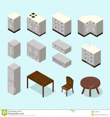 vector isometric kitchen furniture set stock vector image 51280819