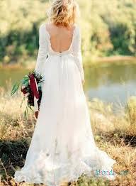 h1378 open back bateau neck long sleeved boho wedding dress