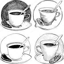 four sketch of teacups and lemon slice u2014 stock vector