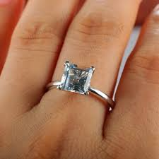 topaz engagement ring white topaz engagement ring 2 5 carat princess cut 14k white gold