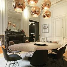 black and white dining room love the rose gold orb