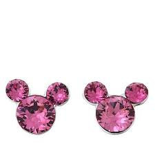 pink earrings disney kids pink mickey mouse sterling silver stud