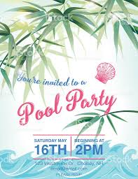pool party invitation template with palm trees stock vector art