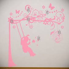young girls wall stickers and full sized wall murals ideas for kid pinky floral girls wall stickers for kids rooms