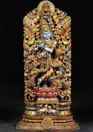 God Statue Sold Wooden Kodi Peacock Krishna Statue 54