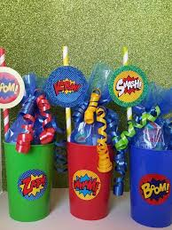 6 super hero filled cups birthday party favor avengers iron man dc