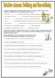 english exercises relative clauses defining and non defining