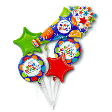 ballon boquets birthday fever horn mylar balloon bouquet inflated with helium and