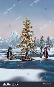 penguins around christmas tree on frozen stock illustration