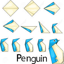 Origami Illustrator - illustrator of origami with penguins royalty free cliparts