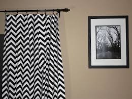 Gray Chevron Curtains Wall Decor White And Gray Chevron Curtains With Black Finial