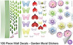 amazon com garden wall mural vinyl stickers 108 decals butterfly