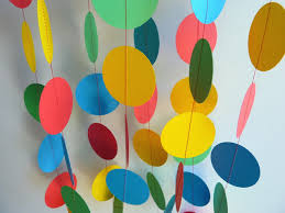 birthday party decorations red blue yellow green paper