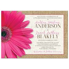 Burlap And Lace Wedding Invitations Rustic Pink Daisy Burlap Lace Wedding Invitation