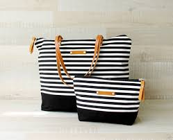 nautical bags zippered striped tote bag express shipping tote bag
