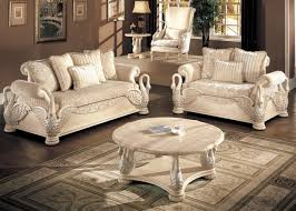 Live Room Furniture Sets Avignon Antique White Swan Motif Luxury Formal Living Room
