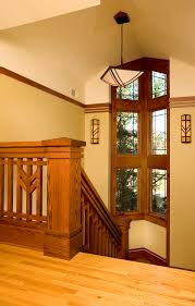 Frank Banister Prairie Style Staircase With Chunky Newel Post Prairie Mission