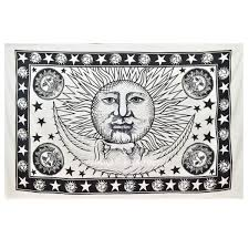 Sun And Moon Bedding Small White U0026 Black Sun Moon Wall Tapestry Fringed Indian