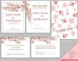 Cherry Blossom Wedding Invitations Sakura Printable Diy Wedding Menu Cherry Blossom In White Tea