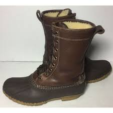 womens ll bean boots size 9 ll bean brown leather robber shearling lined duck boot