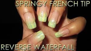 fan choice friday springy reverse waterfall french tip nail