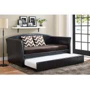 Upholstered Daybed With Trundle Dhp Halle Upholstered Daybed And Trundle Dark Brown Walmart Com