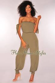 harem jumpsuit tie up shoulder harem jumpsuit