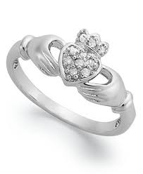 claddagh ring diamond claddagh ring in sterling silver 1 10 ct t w rings