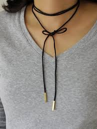 double choker necklace images Wrap choker necklace long black bolo tie choker double wrap jpg