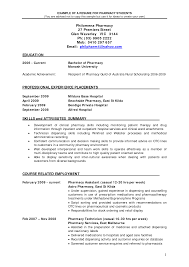 Best Internship Resumes by Pharmacy Intern Resume Resume Example