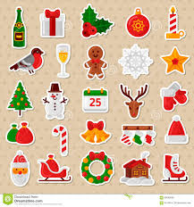 christmas stickers merry christmas flat icons happy new year stickers stock