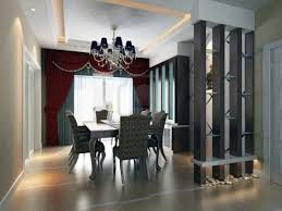 striking modern dining room with beautiful divider and red curtain