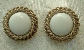 bergere earrings bergere earrings white thermoset cabochon button clip ons vintage
