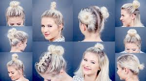 different hairstyles in buns 10 easy different bun hairstyles for short hair milabu youtube