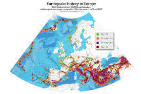 European Time Zone Map by Danger Zones Mapping Europe U0027s Earthquakes Geographical