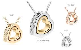double heart necklace images Modyle 2017 double heart gold silver austrian crystal luxury png