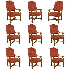 set of 9 19th c french louis xiv upholstered giltwood chairs for