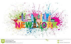 new york city skyline paint splatter illustration stock vector