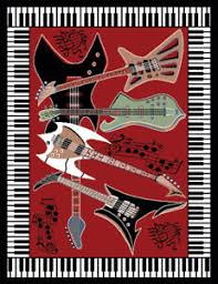 Guitar Area Rug Musical Instrument Piano Key Bordered Area Rug Guitar