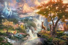 thomas kinkade disney paintings beauty beast u0026 bambi