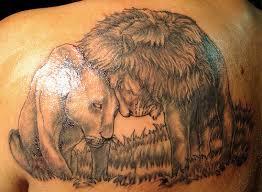 pair lion tattoo design for men on upper back http heledis com