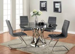 Black Modern Dining Room Sets Dining Room Glass Round Modern Dining Tables With Black Leather
