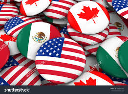 Mexican American Flag American Mexican Canada Flag Badge Pile Stock Illustration