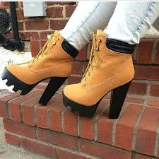 womens boots size 5 womens lace up chunky heel cleated sole ankle boots