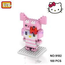 loz cartoon kitty pink peppa pig figure mini diy building